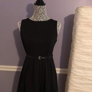 Calvin Klein Little Black Dress w/ Faux Leather